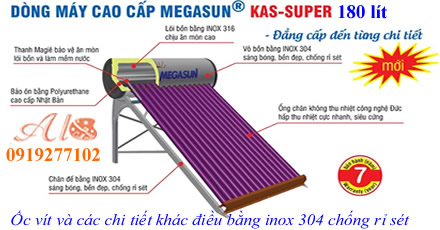 Máy nước nóng năng lượng mặt trời Megasun 180L KAS-SUPER