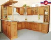 tủ bếp gỗ xoan đào Hwata