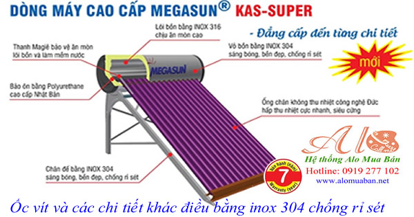 máy nước nóng năng lượng mặt trời Megasun 300l KAS Super
